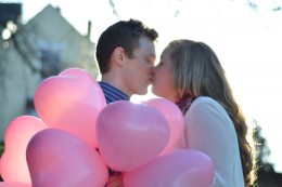 Love heart balloons engagement Shoot